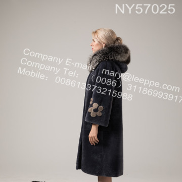 Australien Merino Shearling Long Coat For Lady