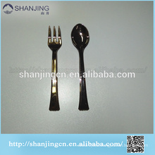 10-12cm promotional tasting plastic spoon and fork cutlery set sliver covered or gold covered customize
