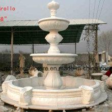 Белый фонтан воды скульптуры каменного вала (SY-F008)