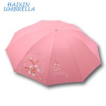 Mode Rose Compact Pluie Soleil Parapluie En Gros Personnalisé Promotionnel Publicité Soleil Plage Pliant Umberella avec Impression LOGO