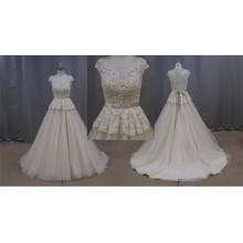 Vestidos de novia de encaje más el tamaño de Champagne