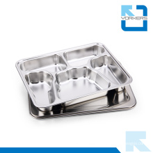 5 Compartment Butterfly Shape Stainless Steel Fast Food Serving Tray Food Divider Plate