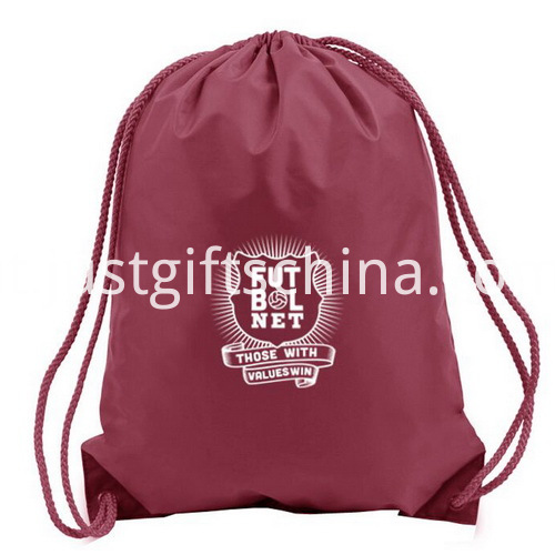 Branded Logo School Polyester Drawstring Backpacks W PU Corner Cover (5)