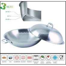 3ply Chinese Stainless Steel Cooking Wok