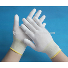 13G nylon gloves coated with pu top fingers