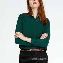 Office Green Chiffon Blouse for Women
