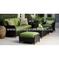 Bate-papo parte de 6 de mobília de vime ao ar livre construção de conjunto-all-weather e almofadas de pelúcia