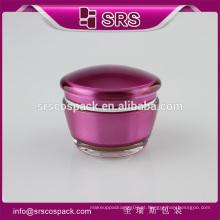 SRS frasco de creme de acrílico roxo de luxo e frasco plástico recipiente de embalagem de cosméticos para cuidados com a pele