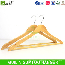 low price wooden suit hanger with bar pant hanger with locking bar cheap wood hangers