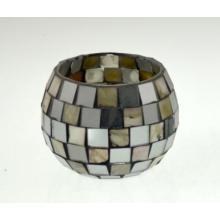 Novo design de vidro Mosaico Candle Holder para férias