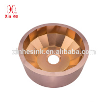 Stainless Steel handmade luxury pvd golden bronze round hand wash basin bar sink for hotel club use