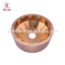 Pvd de luxo artesanal de aço inoxidável dourado bronze rodada lavatório pia bar para uso do clube do hotel