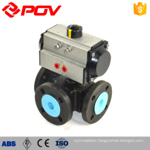 Flanged 3 way ptfe pneumatic air actuator ball valve