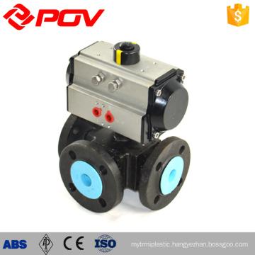 Flanged 3 way ptfe pneumatic air actuator ball valve
