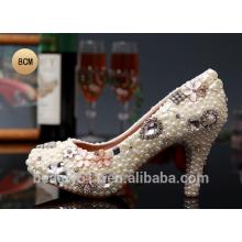 Las mujeres cristalinas del cordón de los zapatos calzan los zapatos de la plataforma del alto talón de las señoras del trabajo hecho a mano WS004