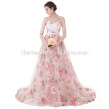 2017 Mais Recente Projeto Lindo Flor Impresso Rosa Chiffon Inchado Cauda Longa Vestido De Baile Alibaba Vestido de Noiva