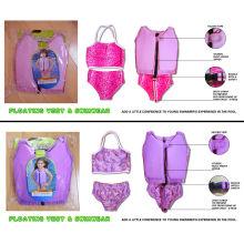 Upf50 Pink , Blue , Yellow Flotation Device Lycra Kids Swim Float Suit Swimwear For Baby