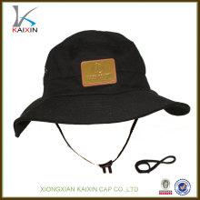 custom cotton wide brim bucket hat with string