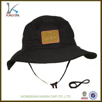 Sombrero de cubo de algodón de ala ancha con cadena