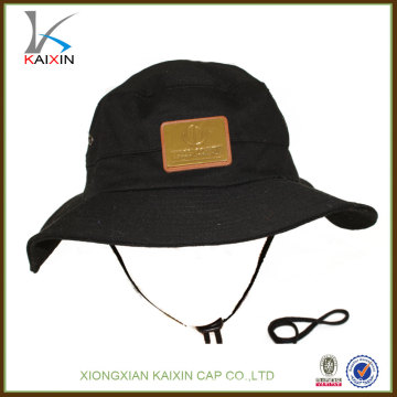 custom cotton wide brim bucket hat with string