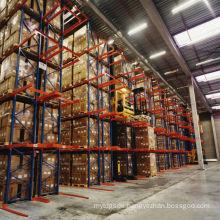 Jracking metal storage rack drive in warehouse shelving bins