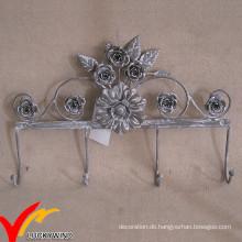 Blumen-Form-Weinlese-Metallwand-Mantel-Haken
