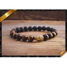 Amarillo tigre ojo Buddha bolas pulseras para la joyería de las mujeres (CB038)
