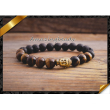 Yellow Tiger Eye Buddha Beads Bracelets for Women Jewelry (CB038)