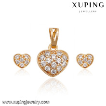 62715-xuping fashion 18k gold luxury diamond luxury heart jewelry set
