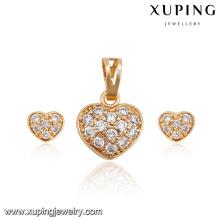 62715-xuping fashion 18k gold luxury diamond luxury heart jewelry set