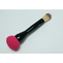 Double-Edged com esponja de maquiagem e escova de base de cabelo sintético