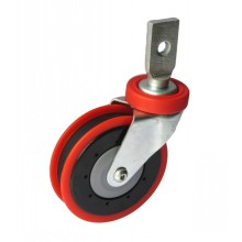 "5"" Splinting Type Rigid Shopping Cart Caster (red, one groove)"
