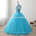 2017 new fashion blue color floor length wedding dress laced halter design diamond decoration new style wedding dress wholesale