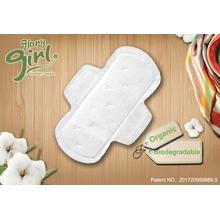 Disposable organic cotton sanitary napkins with wings