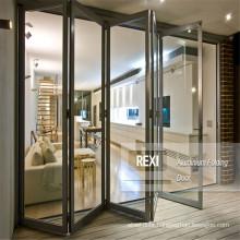 Glass Aluminum Bifold Doors Windows Sliding Casement Aluminum Frame Multi-fold Double Glazed Modern Design