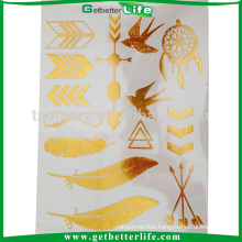 Personalized temporary gold metallic foil tattoo