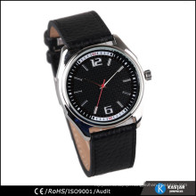 quartz movt leather strap stainless steel back watch man