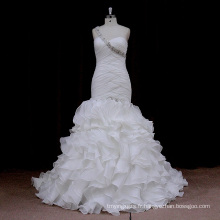 0715 Robe de mariée en organza plissée sirène
