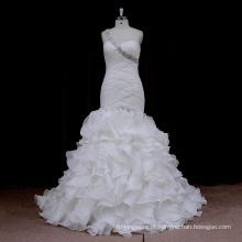 0715 plissado Organza sereia vestido de noiva nupcial