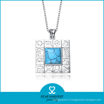 Véritable mode demi-pierres précieuses Bijoux Collier en argent (N-0109)