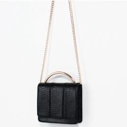 Crocodile pattern metal chain handbag shoulder bag