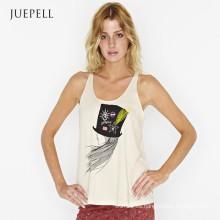 Playera sin mangas con estampado de chica de algodón de Fashion Fashion