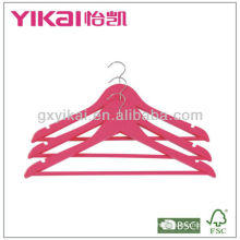 Deep pink wooden shirt hanger with round bar and U notches
