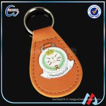 Porte-clés en cuir rond de triangle en cuir