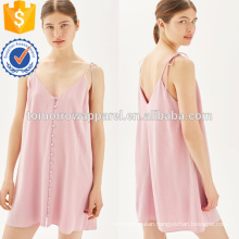 Pink Button Through Mini Slip Dress OEM/ODM Manufacture Wholesale Fashion Women Apparel (TA7119D)