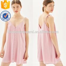 Розовый кнопки через мини-платье Выскальзования OEM и ODM Производство Оптовая продажа женской одежды (TA7119D)