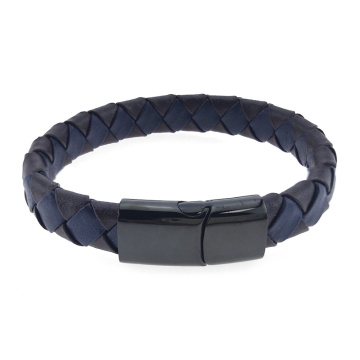 Simple mens woven genuine leather bracelet