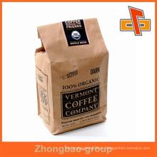 El material de empaquetado de la venta caliente el papel de Kraft del vendedor de China se levanta las bolsas de encargo del café con insignia privada por encargo