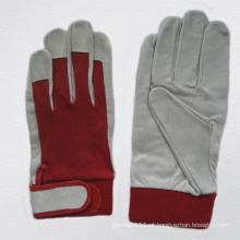 Pigskin Leather Mechanic Safety Work Glove with Cotton Back