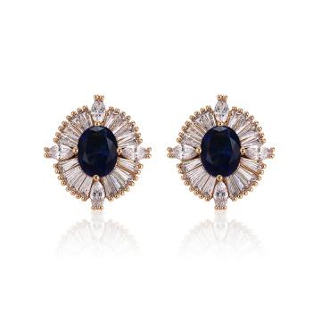 96025 xuping conception spéciale luxe dames en zircon synthétiques couleur or 18k déposer des boucles d'oreilles